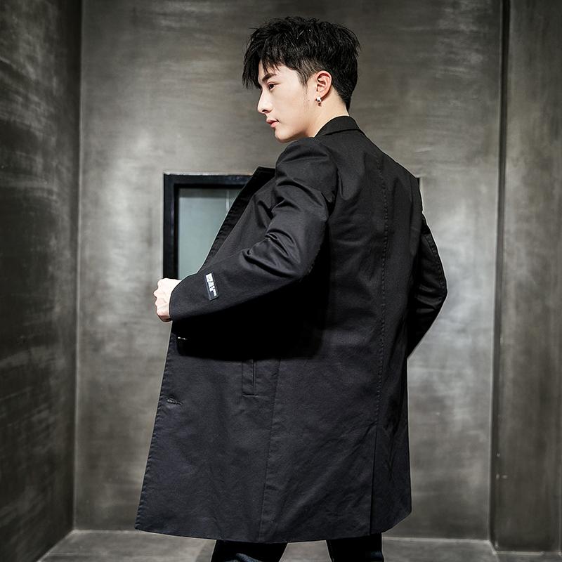 休闲长外套韩版 春季新款男士薄款时尚春秋男装修身中长款风衣  2020