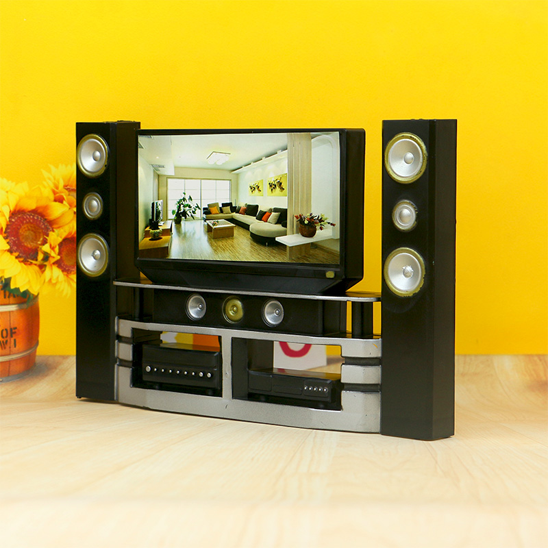换装娃娃过家家DIY玩具场景黑色电视影院音响功屏幕多合一满包邮