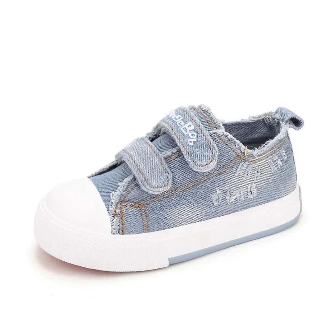 海绵宝宝低帮儿童帆布鞋春秋男女童鞋子板鞋2018新款韩版牛仔布鞋