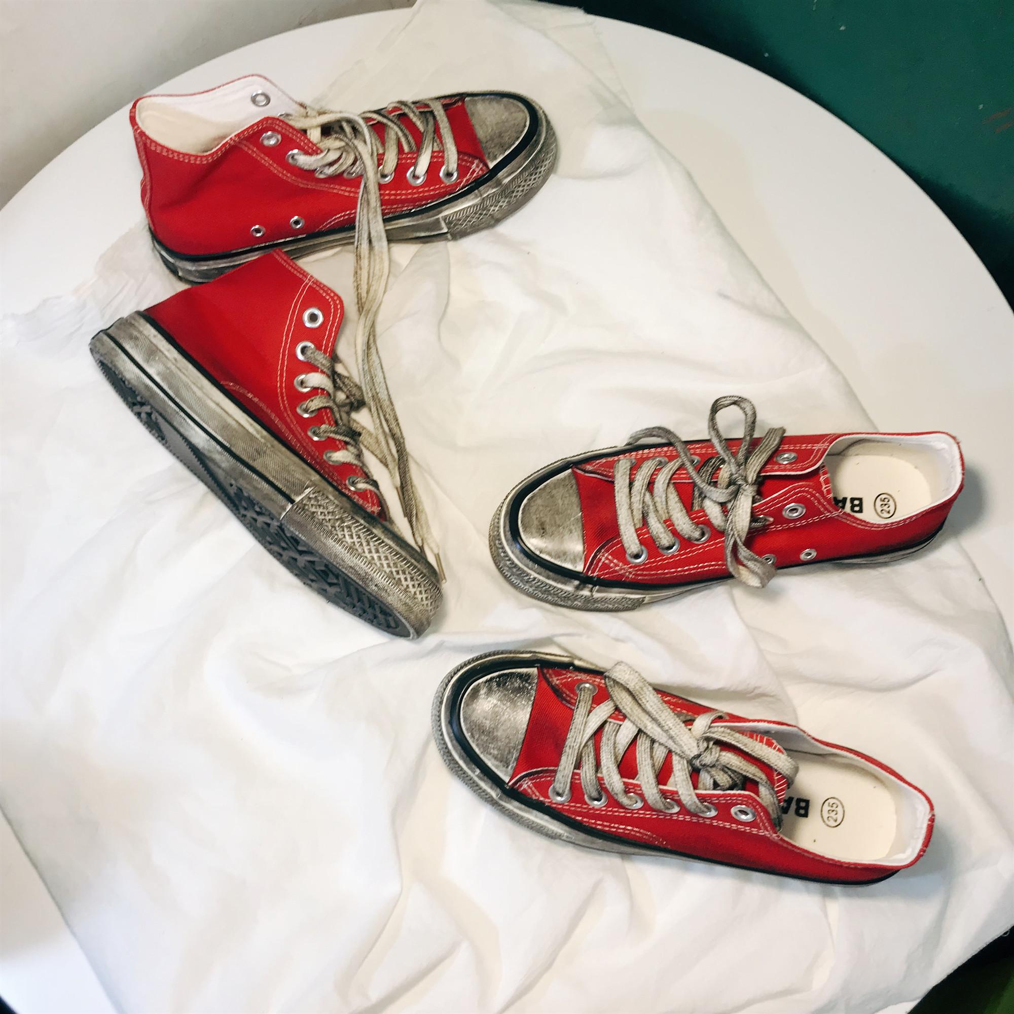 女 高帮做旧帆布鞋 1970s 复古脏鞋 ins 街拍情侣鞋 bf 百搭 ulzzang 原宿