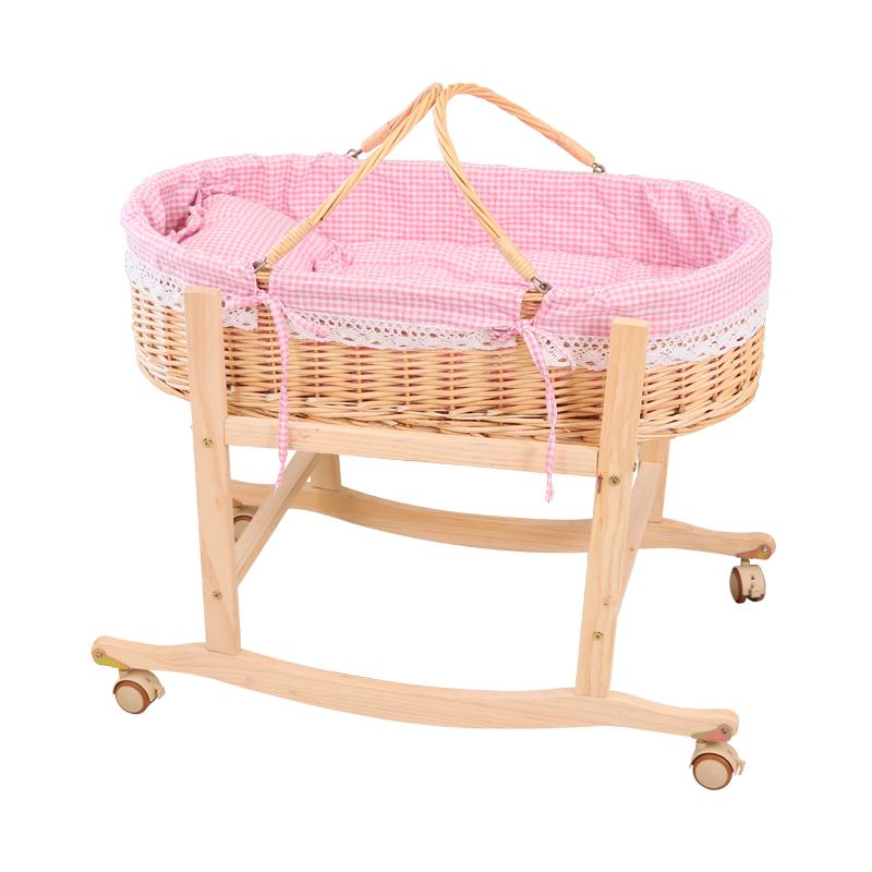 新生儿婴儿床实木支架婴儿手提篮宝宝摇篮车载睡篮藤编婴儿摇篮床