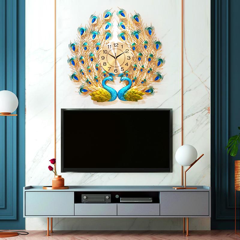 孔雀挂钟客厅家用时尚创意钟表静音装饰凤凰壁钟欧式时钟石英钟大