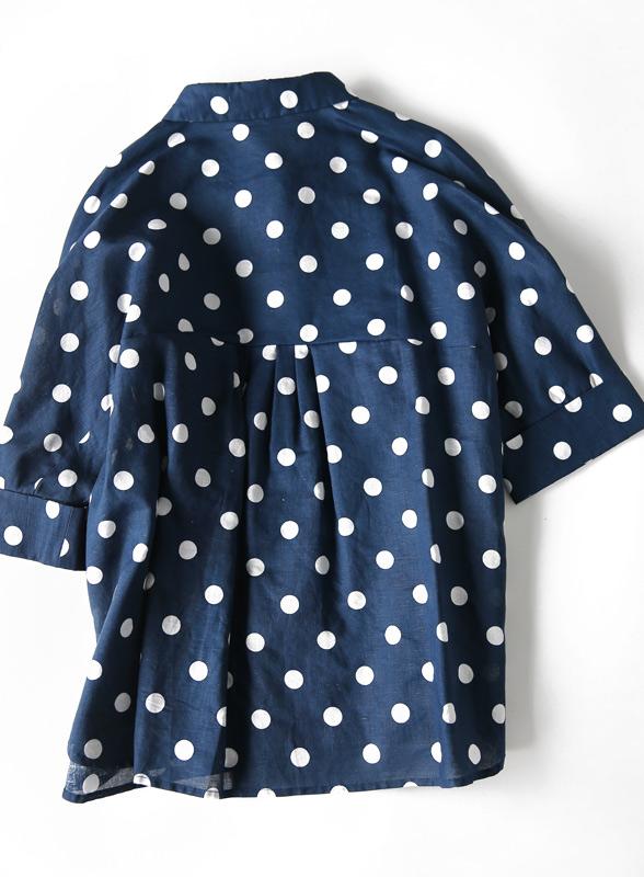 18夏季时尚洋气波尔卡圆点宽松廓型显瘦翻领棉麻蝙蝠袖衬衫上衣女
