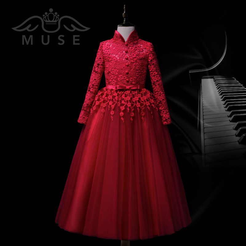 MUSE儿童礼服长袖公主裙秋冬新款女童结婚婚纱小花童钢琴表演礼服