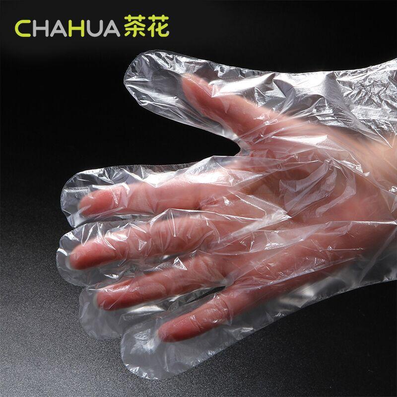 茶花一次性手套pe薄膜塑料餐饮厨房手套透明加厚100只