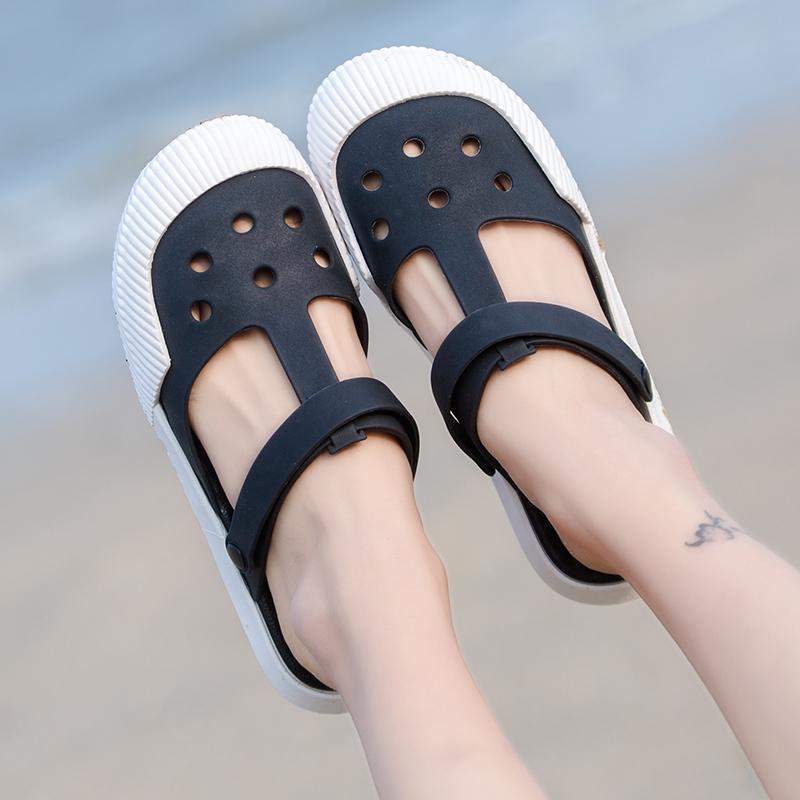 果冻洞洞鞋女夏季韩版平底防滑白色护士学生花园拖鞋沙滩包头凉鞋