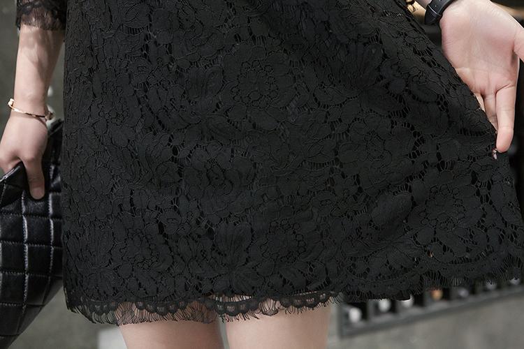 春季新款重磅踩线蕾丝连衣裙宽松大码打底裙长袖小圆领连身裙白色