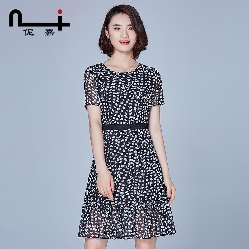 波点连衣裙2019新款女装雪纺中长气质修身显瘦春夏季荷叶边裙子仙