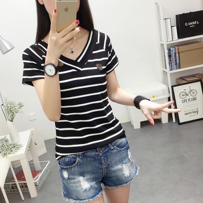 夏季女装韩版上衣v领黑白条纹修身短袖t恤显瘦纯棉半袖体恤打底衫