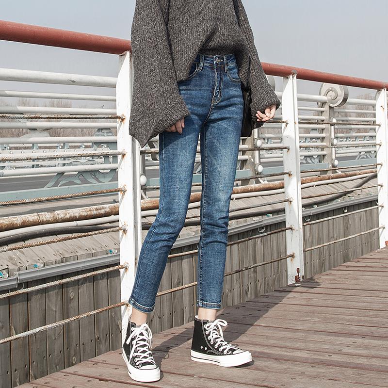 高腰牛仔裤女春秋2018新款韩版紧身小脚九分裤显瘦黑色长裤裤子夏