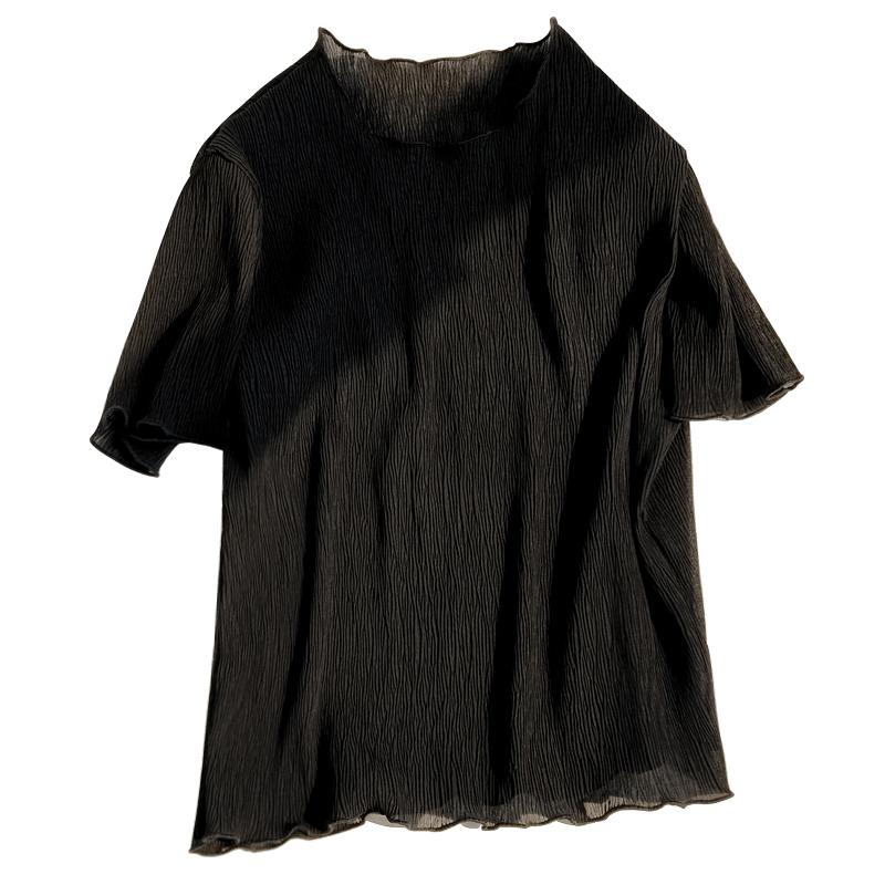 白色雪纺上衣女夏2018新款超仙甜美气质短袖t恤宽松遮肚子打底衫