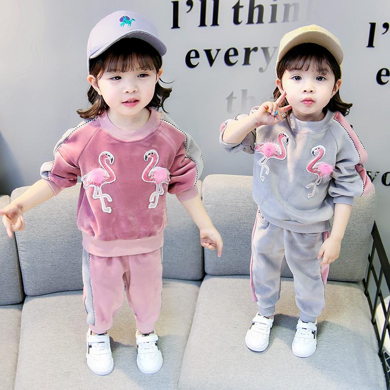 1女童衣服2小孩卫衣4女宝宝0两件套秋季5婴幼儿金丝绒套装3岁韩版