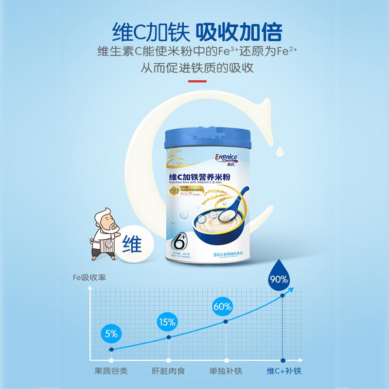 英氏高铁米粉300g 宝宝辅食营养高铁米粉婴儿米糊6-36个月