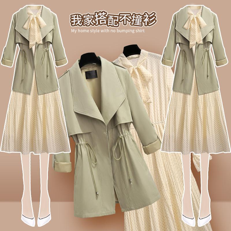 春秋季轻熟风衣两件套