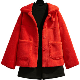 红色皮草2019新款女装秋冬颗粒绒羊羔毛皮毛一体外套短款毛呢大衣