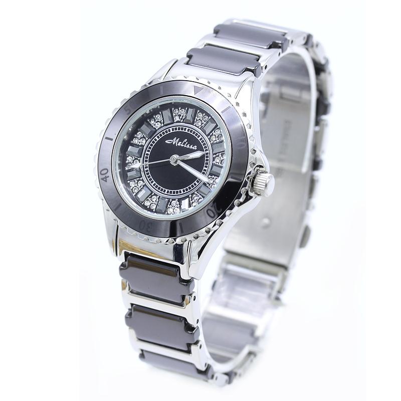 玛丽莎品牌正品石英手表夜光表白色陶瓷时尚气质女表水晶女士手表