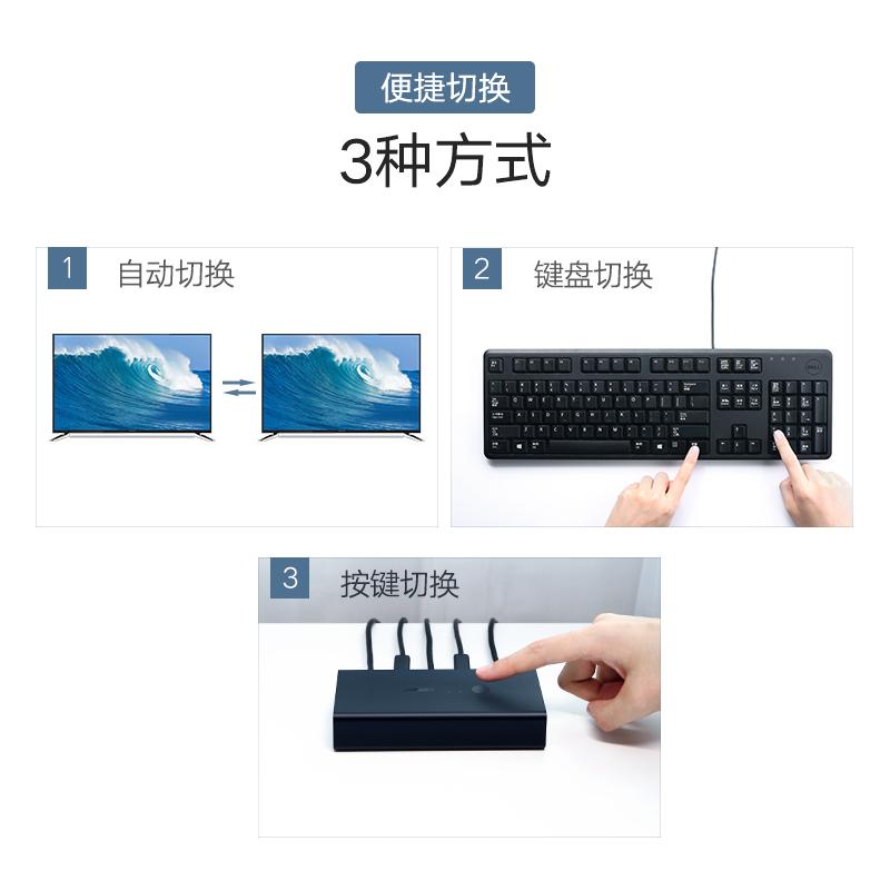 口一拖二 usb2 高清 4k 打印機分線共享自動兩個主機一個套顯示器控制多臺電腦鍵盤鼠標 hdmi 切換器同步器 kvm 綠聯