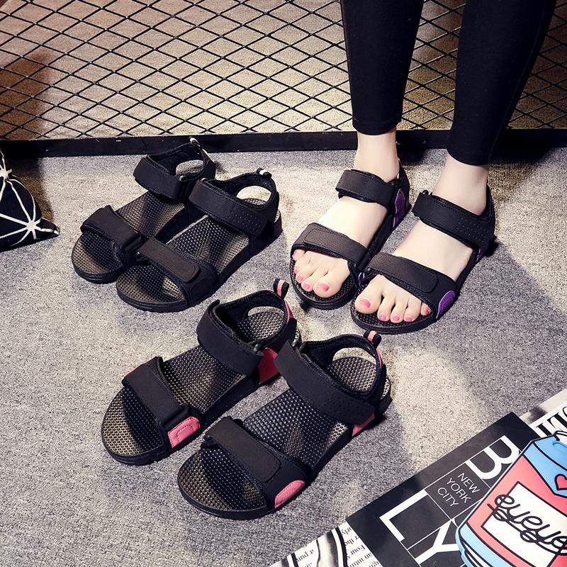 2019新款夏季罗马鞋凉鞋女仙女风海边外穿沙滩鞋学生平底防滑百搭
