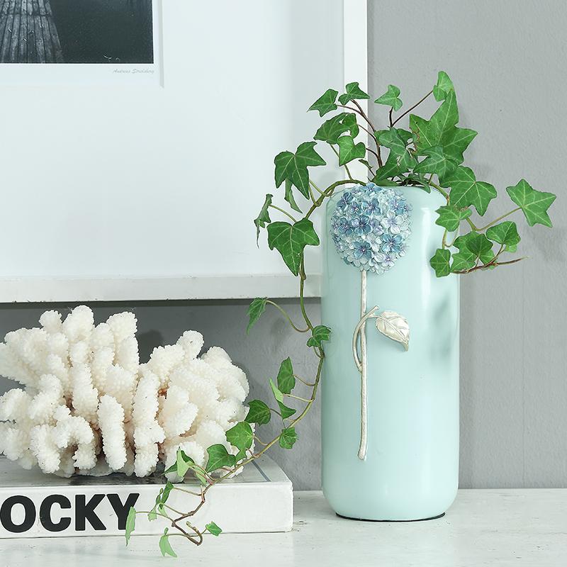 北欧创意欧式田园现代风格树脂客厅花瓶干花摆件插花摆饰落地花器