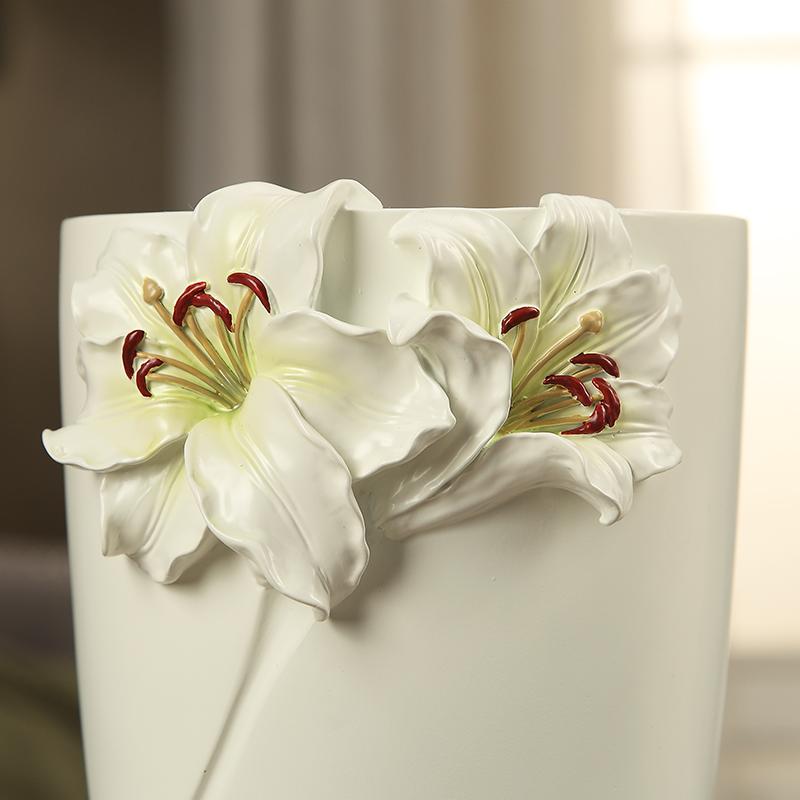 创意欧式田园韩式风格树脂客厅摆件摆饰花器百合花瓶 绿朵