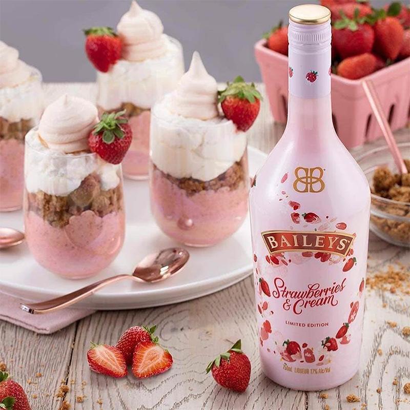 草莓味利口酒奶油香味女士喝 百利甜 BAILEYS 甜酒水果味送礼