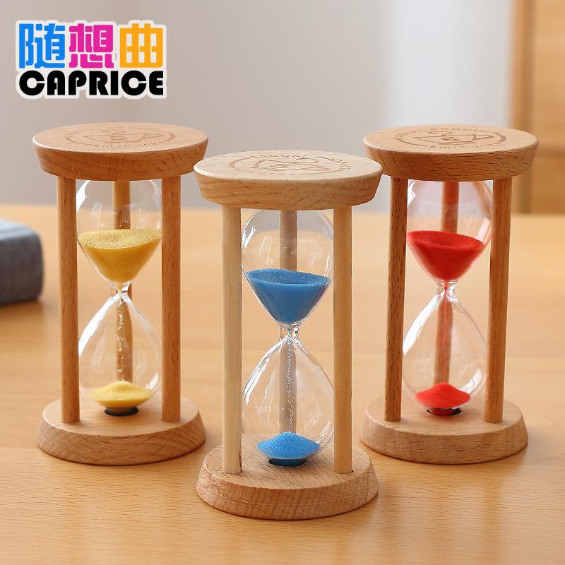 木质小沙漏计时器儿童刷牙防摔三分钟时间创意家居装饰品摆件礼物