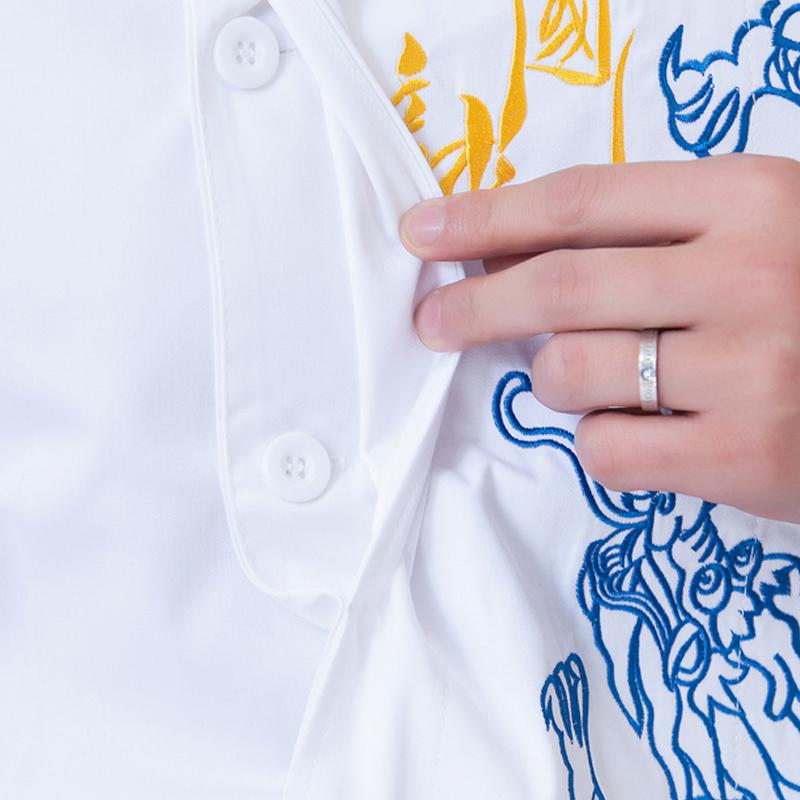 中国龙餐饮酒店厨师长工作服短袖夏季男总厨大厨绣龙中国风中式装