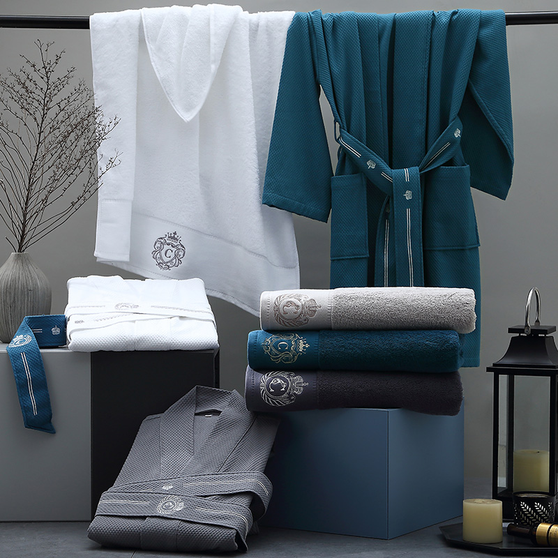 康尔馨五星级酒店浴袍男女夏纯棉日式和服领皇冠绣花全棉情侣浴衣