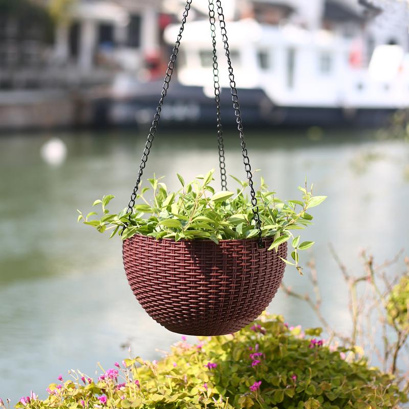 吊盆花盆悬挂式创意绿萝多肉垂吊盆懒人自吸 水培器皿塑料吊篮盆