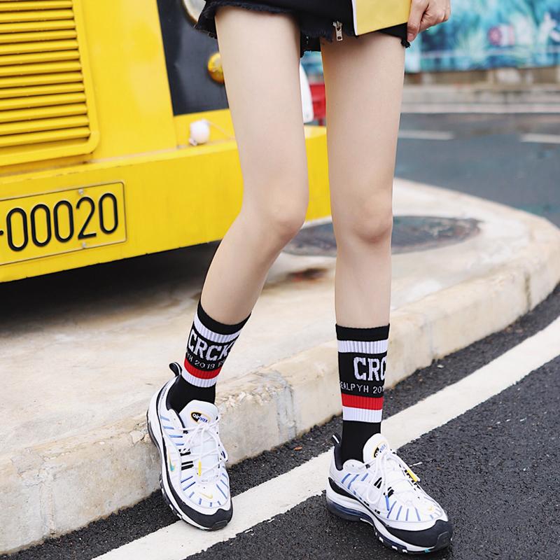 荧光绿色袜子韩国学院条纹字母运动中筒棉袜女春ins二杠