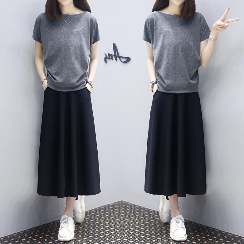 连衣裙2021新款夏女士裙子两件套装收腰显瘦一字肩气质大码宽松裙主图