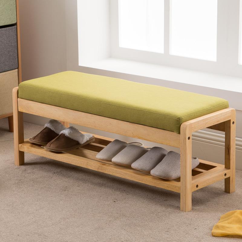 日式实木换鞋凳木蜡油布艺可拆洗坐垫简约环保