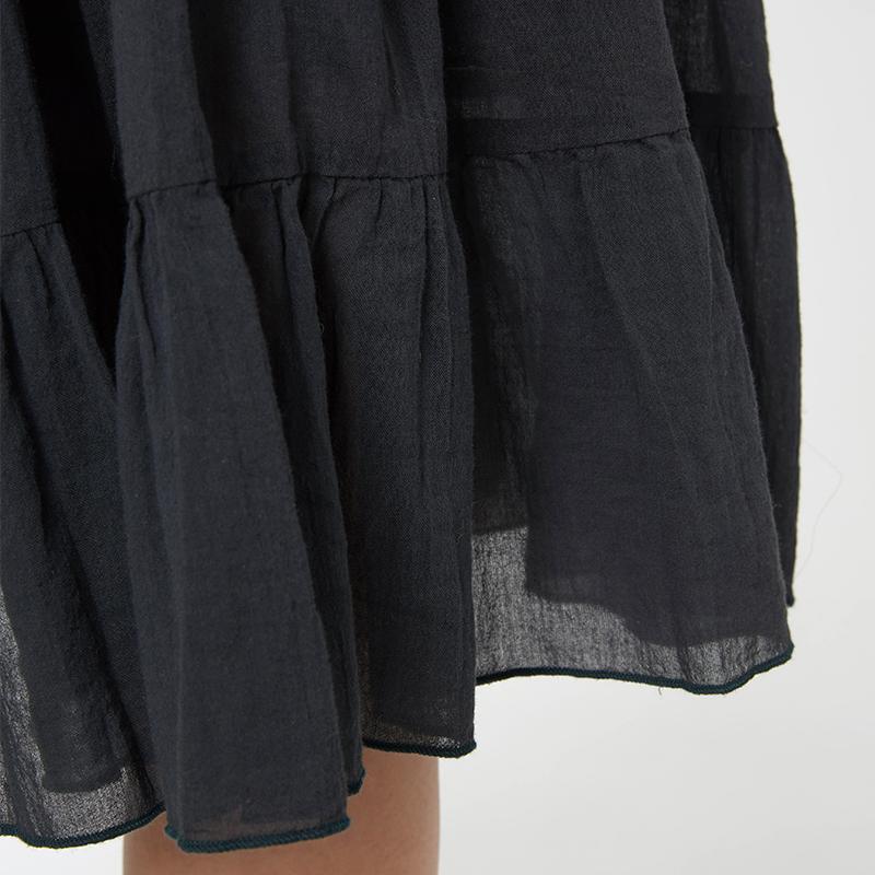 斯琴夏熟女纯棉纯色抽绳松紧腰荷叶边休闲半身裙中长裙 11XQ003