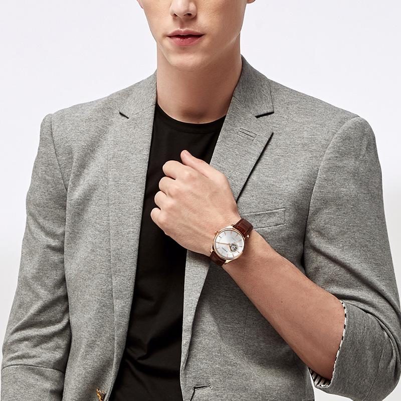 正品罗西尼全自动机械手表商务时尚酷感双镂空男表防水钟表918725