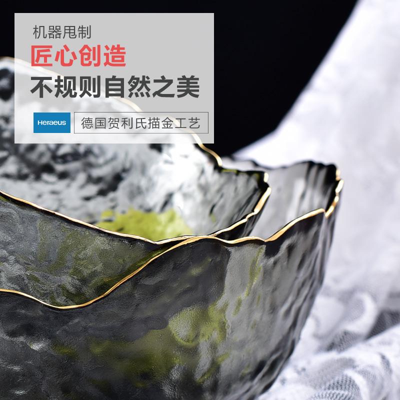 日式锤纹金边玻璃碗沙拉碗碟套装家用水果盘创意北欧风餐具甜品碗
