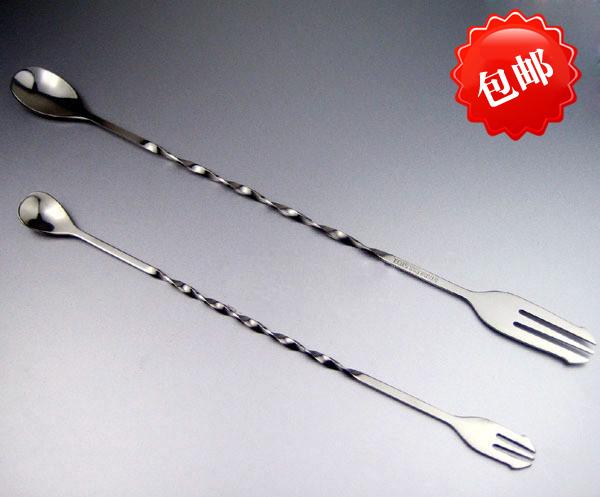 304不鏽鋼吧更 調棒 長柄咖啡奶茶攪拌棒 調合勺 調酒工具匙勺+叉