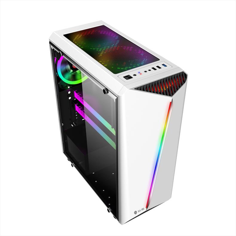玩嘉彩虹钢化玻璃RGB电脑机箱游戏台式电脑机箱DIY全侧透机箱网咖