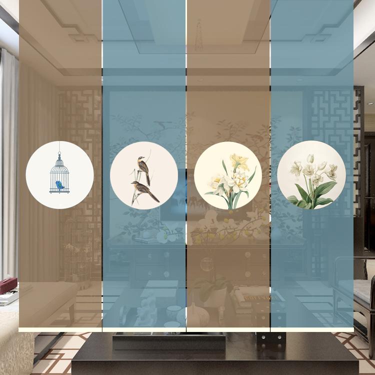 中式复古花鸟卷帘包邮客厅卧室书房隔断拉帘田园国风遮光网孔窗帘