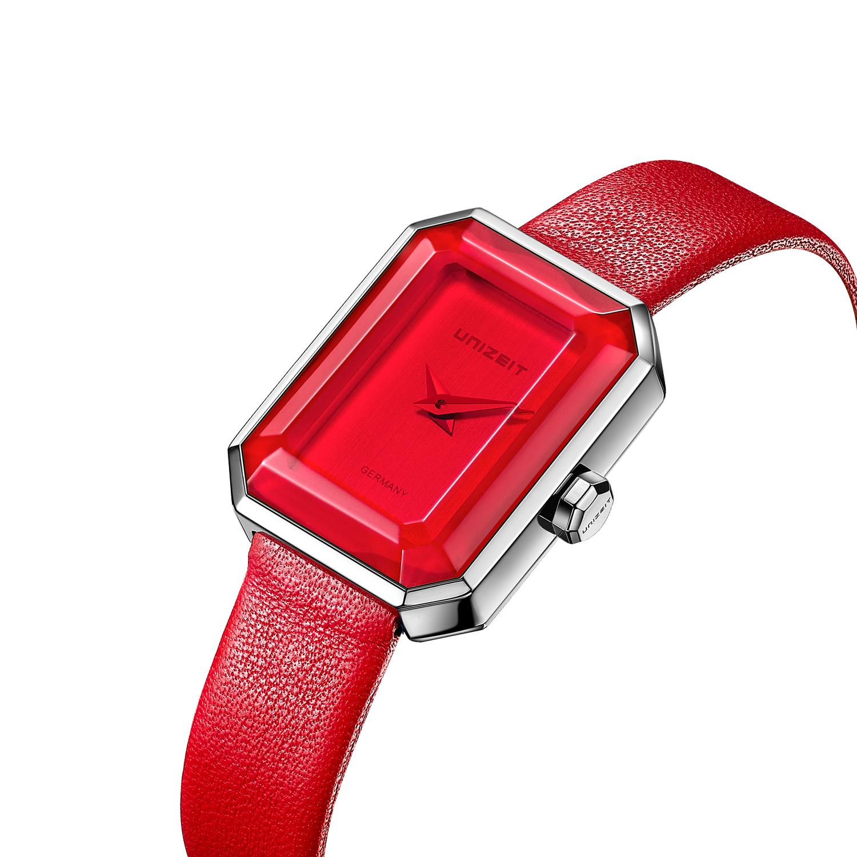 unizeit优立时德国女表潮学生手表品牌石英表皮带新款红色GE001