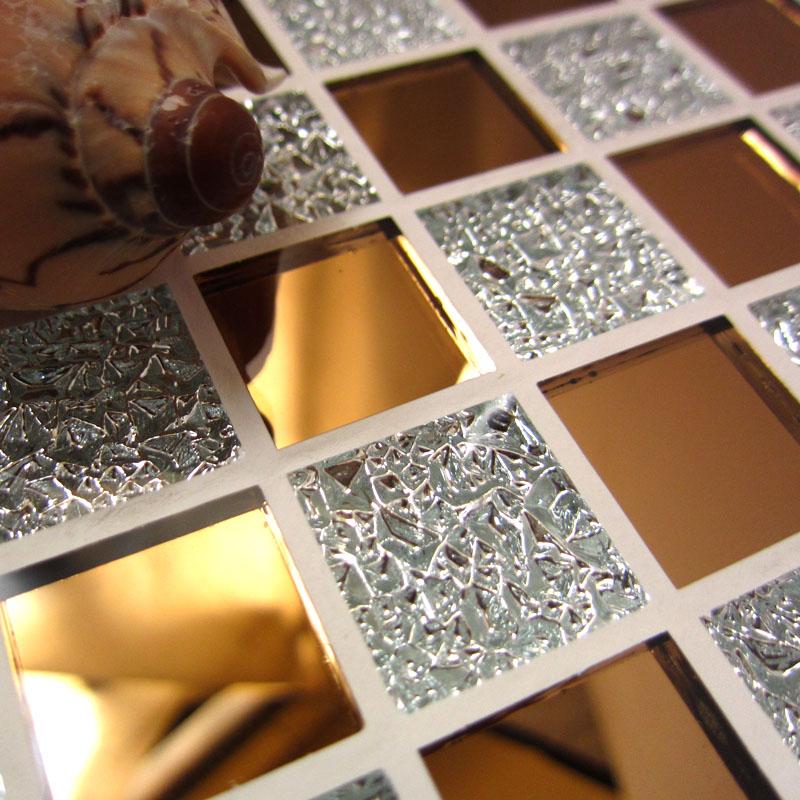 包邮潘多拉水晶玻璃马赛克自粘背景墙瓷砖银金色欧式KTV自贴墙贴