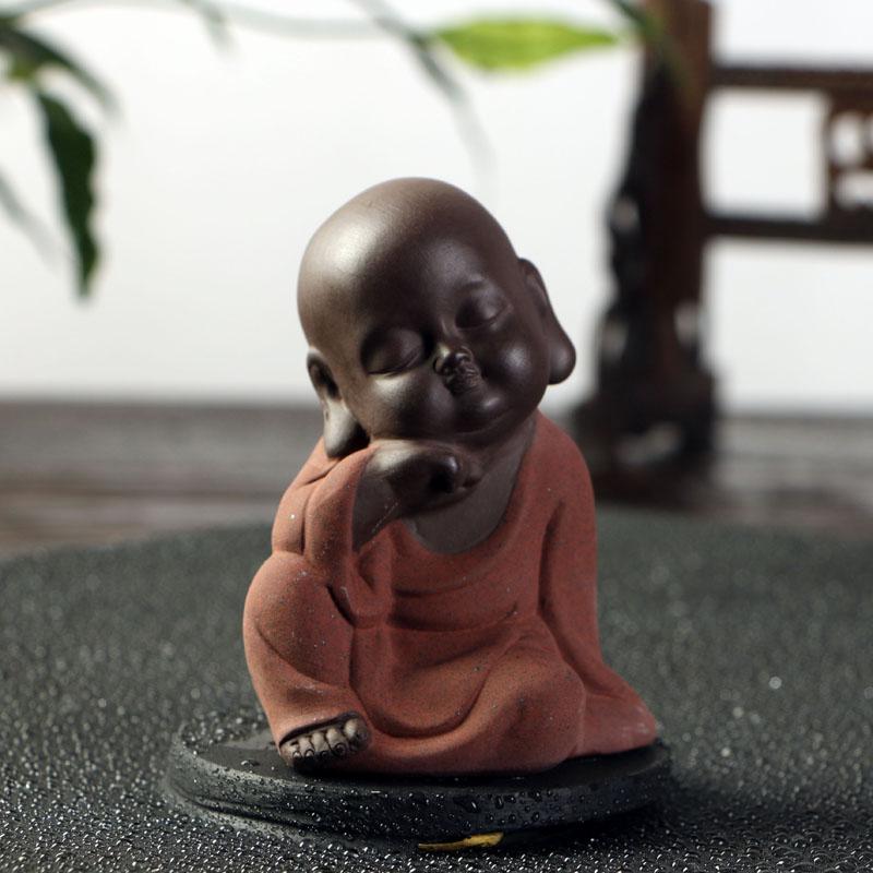 中迪 可爱佛小和尚茶宠功夫紫砂摆件 手工茶玩茶具配件精美摆件