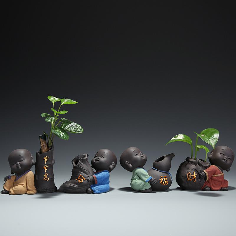 中迪 可爱紫砂小和尚茶宠可养摆件 茶桌茶具小摆件配件迷你小花器