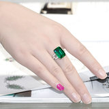 Emerald ring 925 sterling silver color treasure carat square colored gemstone tourmaline ring 18K white gold plated female