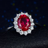 Princess Dia Ruby Ring 925 Sterling Silver Inlaid Carat Pigeon Blood Red Color Jewelry Ring 18K Gold Plated Female