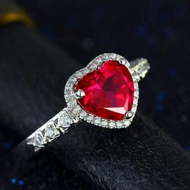彩宝红宝石925纯银戒指女款红刚玉碧玺色指环镶钻镀18K金欧美饰品
