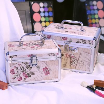 铝合金化妆箱手提双层大容量小号便携收纳箱盒专业带锁硬的化妆包