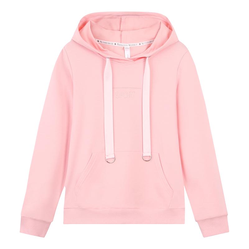 绿色卫衣女连帽春秋薄款2019新款外套韩版短款粉色长袖套头上衣潮