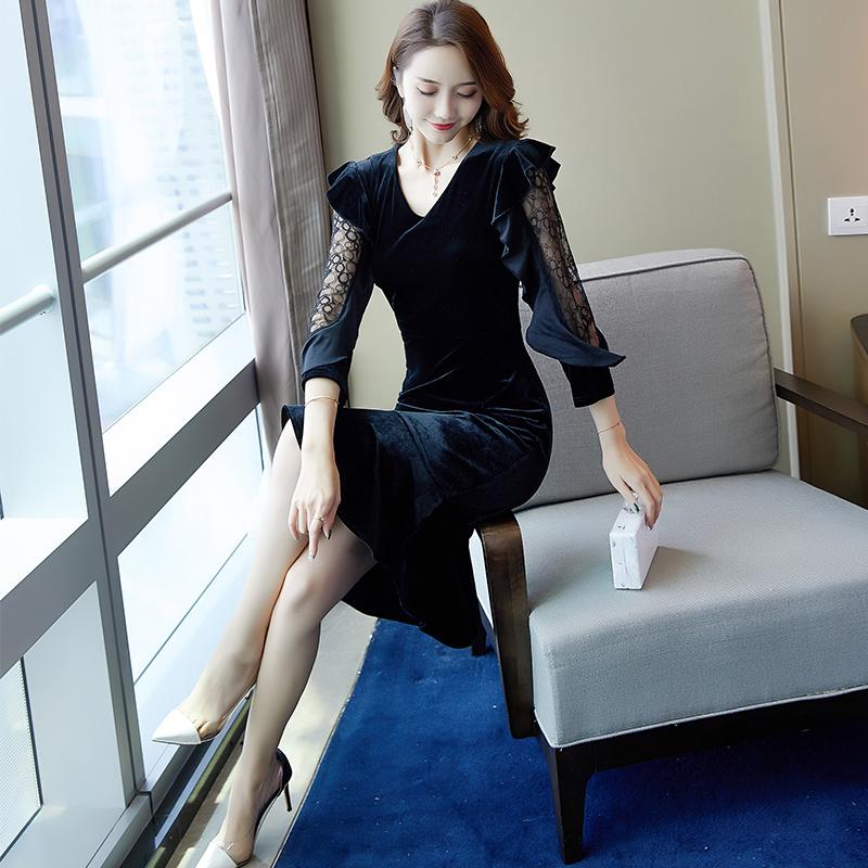 金丝绒连衣裙2019新款女春装气质秋冬鱼尾裙有女人味的女神范衣服