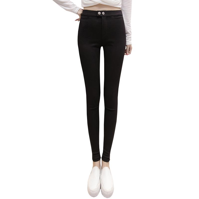 打底裤女外穿2020春秋冬新款高腰黑色紧身小脚加绒显瘦百搭魔术裤 - 图3
