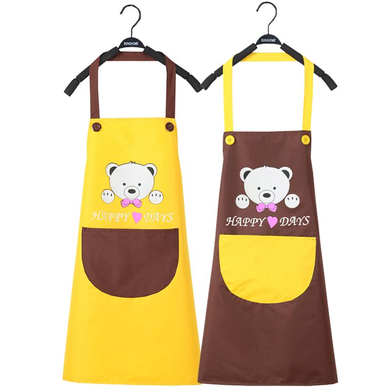 厨房防水围裙韩版时尚工作服成人罩衣定做定制logo印字广告包邮